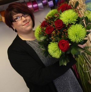 Briony Carter and flowers